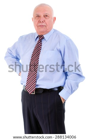 Portrait of Self-confident old mature business man in shirt and tie, isolated on white background. Positive human emotion, facial expression - stock photo