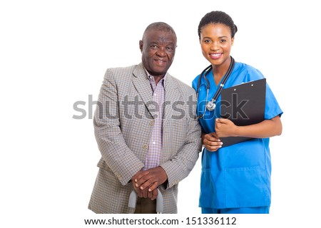 portrait of senior african american man with medical nurse isolated on white - stock photo
