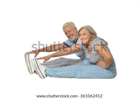 Portrait of Senior Couple Exercising - stock photo