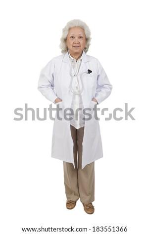 Portrait of senior female doctor - stock photo