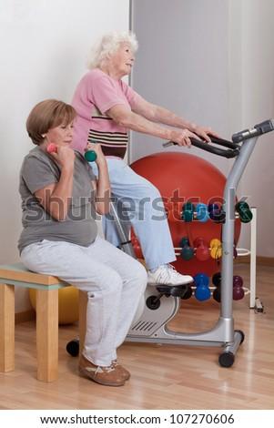 Portrait of senior females doing physical exercise . - stock photo