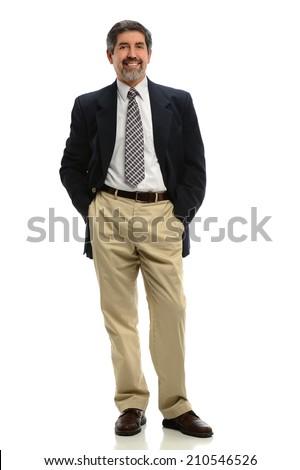 Portrait of senior Hispanic businessman standing isolated over white background - stock photo