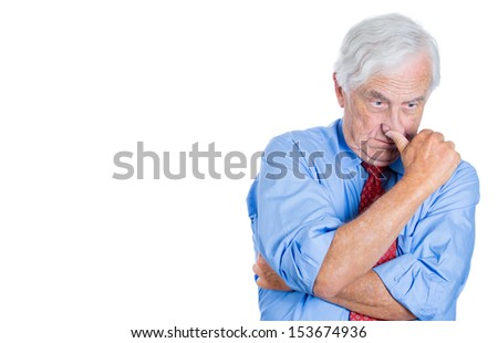 Portrait of senior mature, elderly man, executive, businessman, grandfather very sad, unhappy, thoughtful  concerned with  a conflict situation, isolated on white background with copy space - stock photo