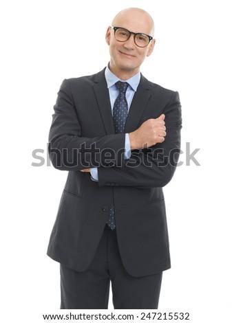 Portrait of senior sales man standing against white background.  - stock photo