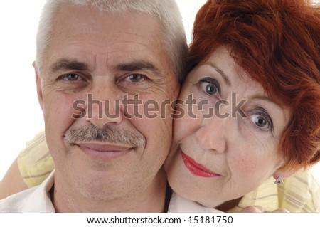 Portrait of seniour couple on white background - stock photo