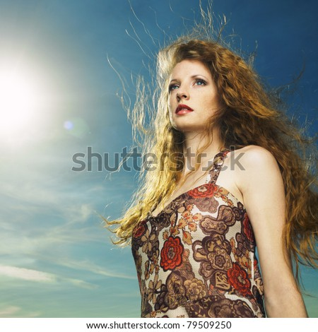 Portrait of sensual woman with magnificent bushy hair - stock photo