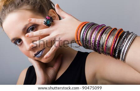 Portrait of sensual young woman - stock photo