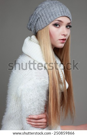 Portrait of sexual beautiful whiteheaded girl in a sportwear, is in fashion style - stock photo