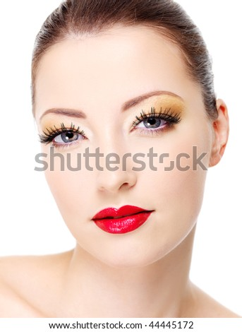 Portrait of sexy attractive glamour woman. Close-up face with fashion make-up - stock photo