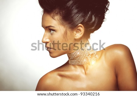 Portrait of sexy caucasian young woman with beautiful black hair posing on white background - stock photo