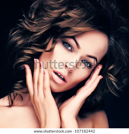portrait of sexy caucasian young woman with long healthy hair, beautiful eyes, sensual lips and clean skin - stock photo