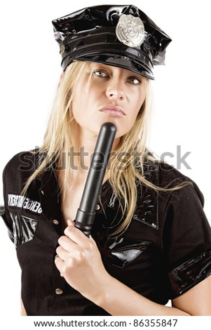 Portrait of sexy policewoman with stick