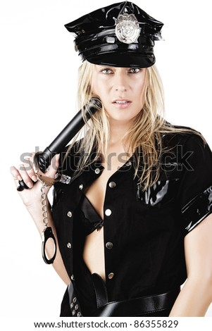 Portrait of sexy policewoman with stick, isolated on white