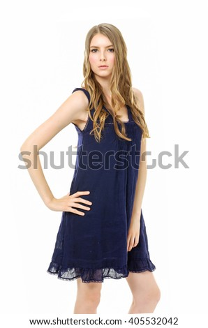 Portrait of sexy slim girl wearing sundress dress with sunglasses posing