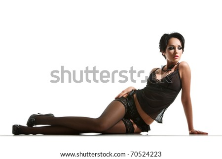 portrait of sexy woman posing in black lingerie - stock photo