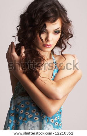 Portrait of sexy woman with beautiful make-up - stock photo