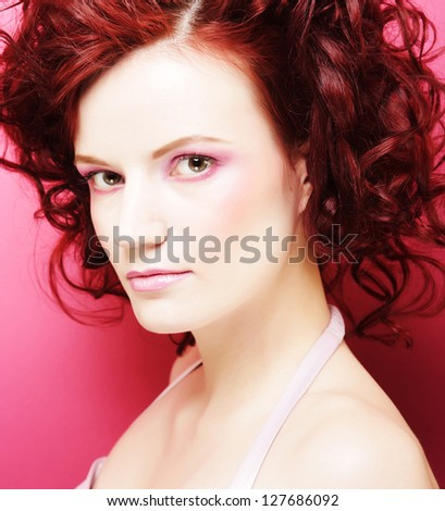 Portrait of sexy woman with beautiful make-up and red  curly hair - stock photo