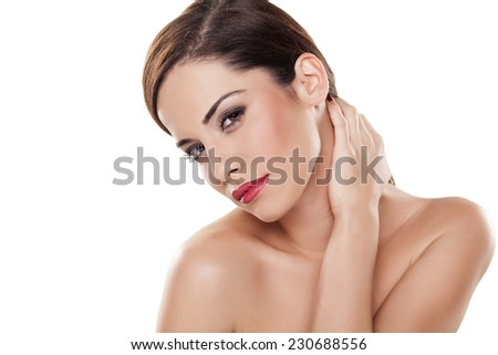portrait of sexy young brunette on white background