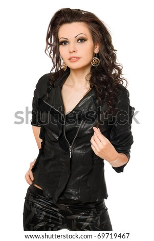 Portrait of sexy young woman in black clothes. Isolated on white - stock photo