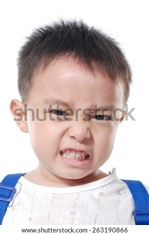 Portrait of shocked little boy  - stock photo