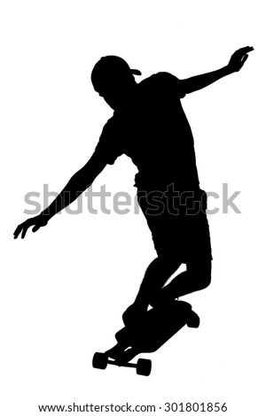 Portrait of silhouettes of skater boy.