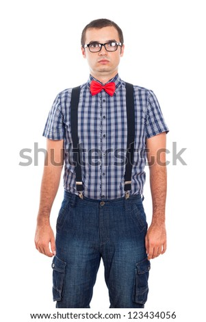 Portrait of silly nerd man, isolated on white background. - stock photo