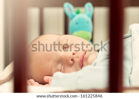 Portrait of sleeping newborn baby,view through the fence at the crib.