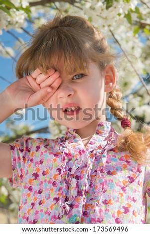 portrait of sleepy little girl - stock photo