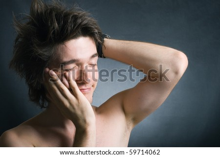 Portrait of sleepy man - stock photo