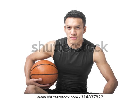 Portrait of Smart Asian Basketball Player On White Background