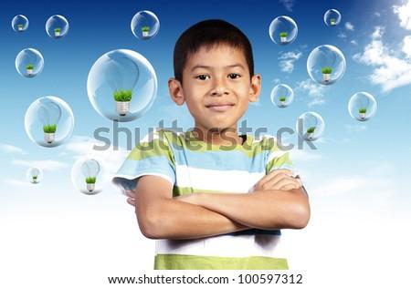 Portrait of smart kid of light idea - stock photo