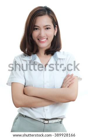 Portrait of smart young business woman  isolated on white background - stock photo