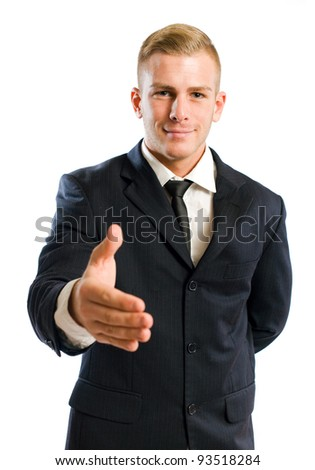 Portrait of smart young businessman introducing himself. - stock photo
