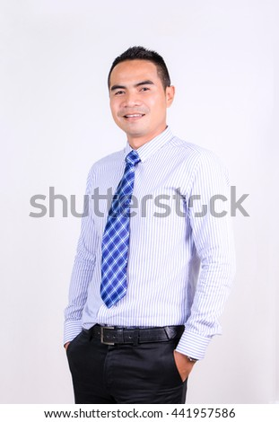 Portrait of smile asian Thai business man on the white background - stock photo
