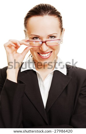 portrait of smiley business lady holding her glasses