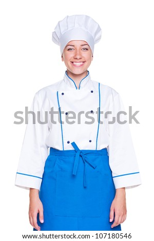 portrait of smiley female cook in uniform. isolated on white background - stock photo
