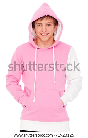 portrait of smiley guy in pink sweatshirt. isolated on white background - stock photo