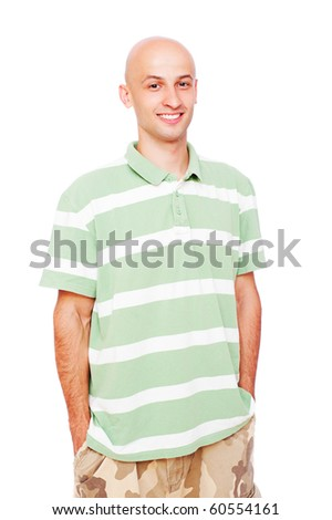 portrait of smiley man in stripy t-shirt - stock photo