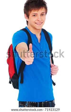 portrait of smiley student showing thumbs up over white background - stock photo