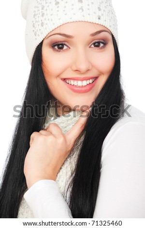 portrait of smiley woman with long hair - stock photo