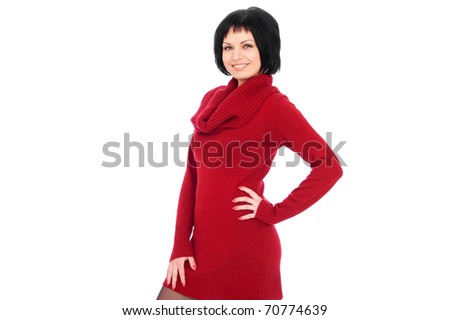 portrait of smiley young woman in red sweater over white background