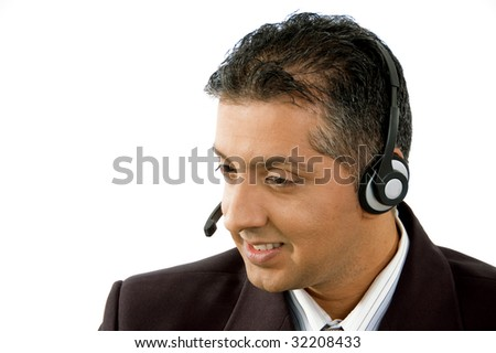 portrait of smiling adult service provider on an isolated white background - stock photo