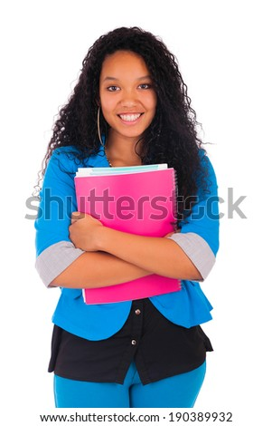Portrait of smiling African American female student isolated - stock photo