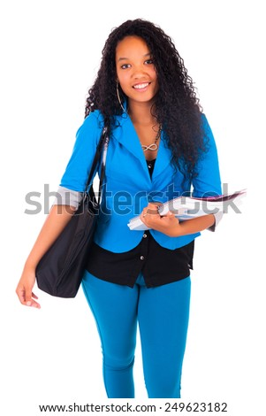 Portrait of smiling African American female student isolated