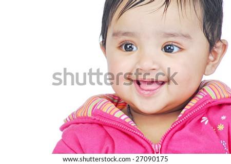 portrait of smiling baby - stock photo