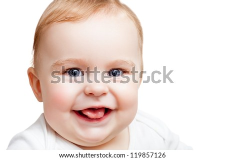Portrait of smiling baby on white background - stock photo