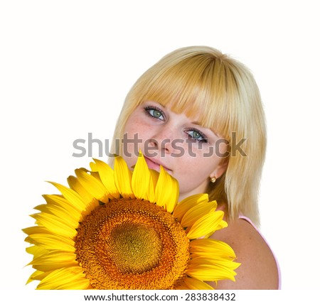 Portrait of smiling blonde girl with sunflower isolated on a white background - stock photo