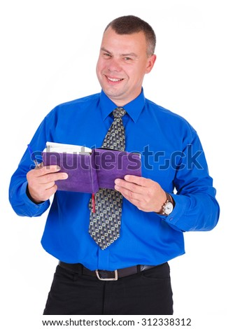 Portrait of smiling business guy holding organizer. Successful businessman in blue shirt and tie with notebook looking at camera. Isolated white background, Concept of leadership and success - stock photo