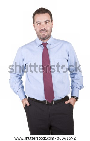 Portrait of smiling business man, isolated on white background - stock photo