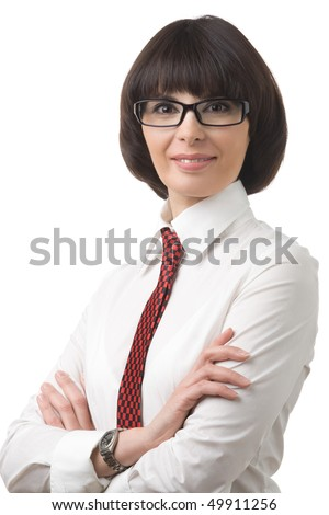 Portrait of smiling business woman in glasses, white shirt, on white background. - stock photo